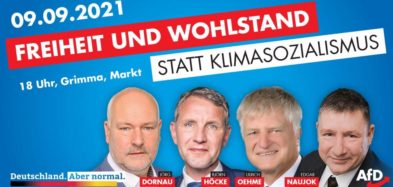Kundgebung in Grimma am 9.9.2021 um 18.00 Uhr.